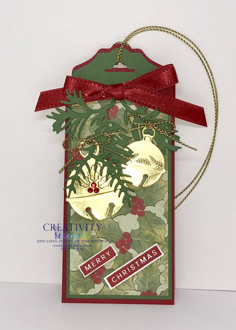 A Christmas Tag using the Sounds of the Season Dies by Stampin' Up!