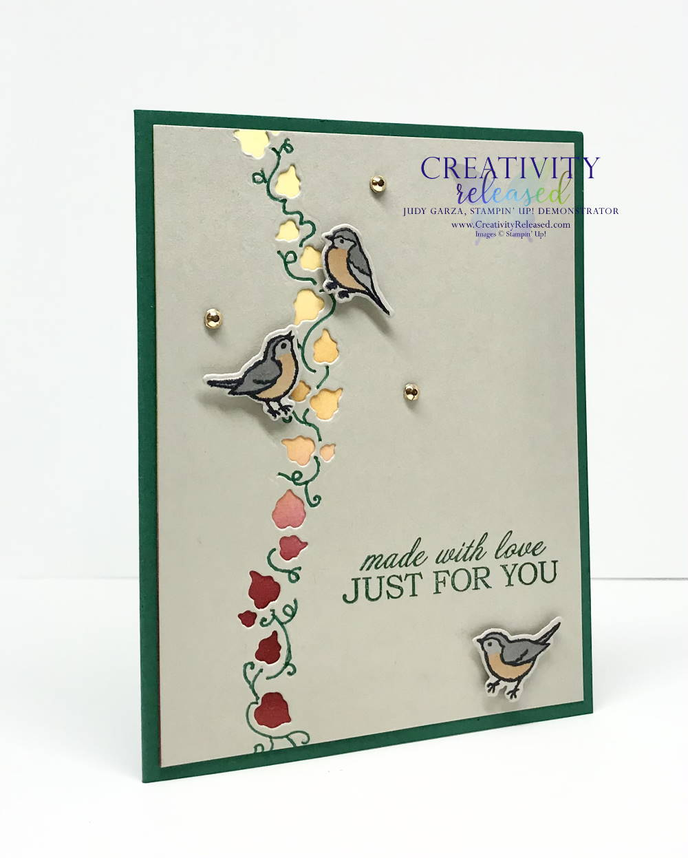 """A card """"Just For You"""" featuring the Curvy Dies and Birds by Stampin' Up!"""