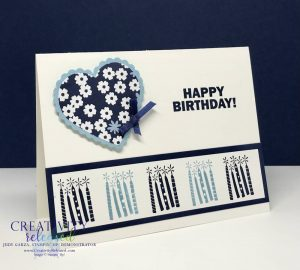 Side view of A Birthday card with a heart on it and with a row of candles at the bottom using the Stampin' Up! Approaching Perfection Sale-A-Bration stamp set.