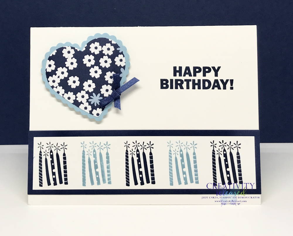 A Birthday card with a heart on it and with a row of candles at the bottom using the Stampin' Up! Approaching Perfection Sale-A-Bration stamp set.