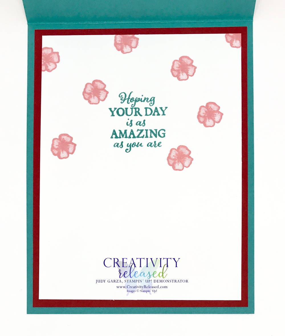 The inside of a birthday card using the Friendly Flamingo bundle from Stampin' Up!