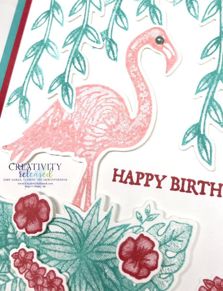 A close-up view of a birthday card using the Friendly Flamingo bundle from Stampin' Up!
