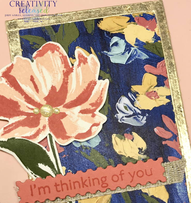 A close-up view of a Thinking of You card using the Floral Arts suite of Stampin' Up! products including Gold Leafing.