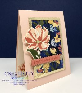 A side view of A Thinking of You card using the Floral Arts suite of Stampin' Up! products including Gold Leafing.