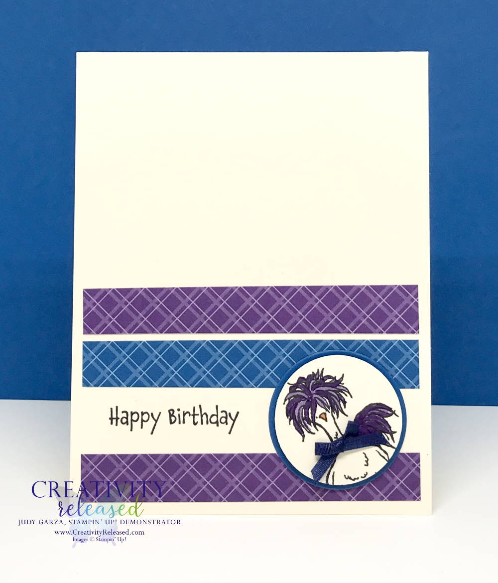 An easy, whimsical birthday card using Stampin' Up! Hey, Chick stamp.