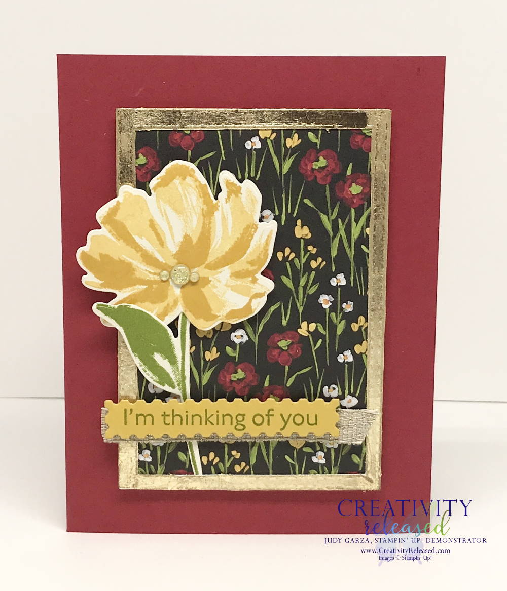 Thinking of You greeting card with a Real Red base with flowers in a gilded frame. Images by Stampin' Up!