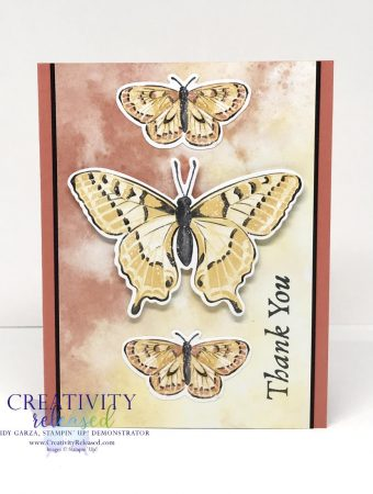 A thank you card with three butterflies down the center using Butterfly Brilliance Bundle by Stampin' Up!