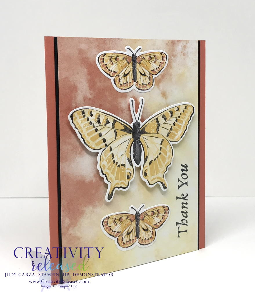 Side view of A thank you card with three butterflies down the center using Butterfly Brilliance Bundle by Stampin' Up!