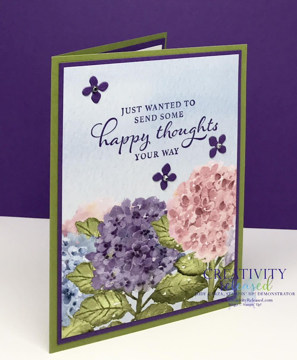 A side view of a greeting card made with the Hydragia Haven stamp set to send Happy Thoughts to a friend.