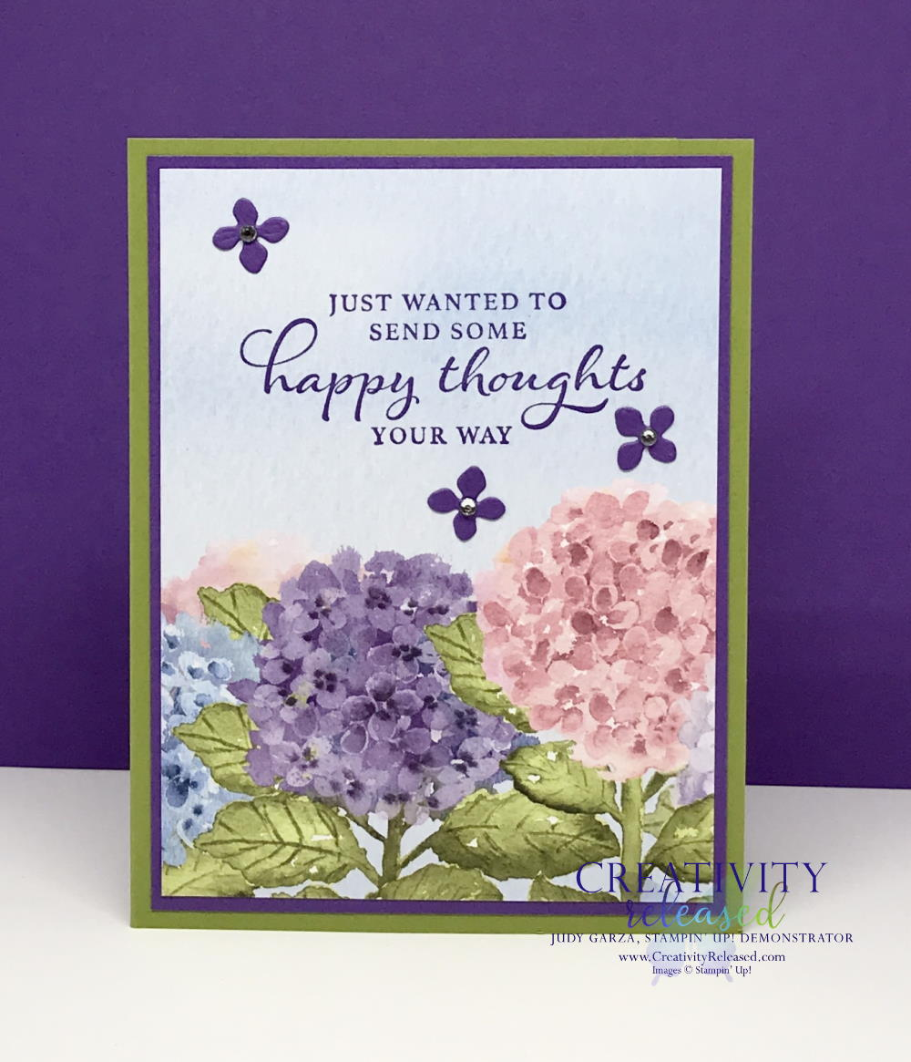 A greeting card made with the Hydragia Haven stamp set to send Happy Thoughts to a friend.