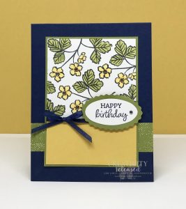A birthday card showing the product coordination of Stampin' Up! Products on a birthday card in Night of Navy, Bumble Bee and Old Olive.