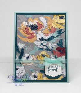 A floral greeting card to say hello to a friend using paper and stamps from Stampin' Up!