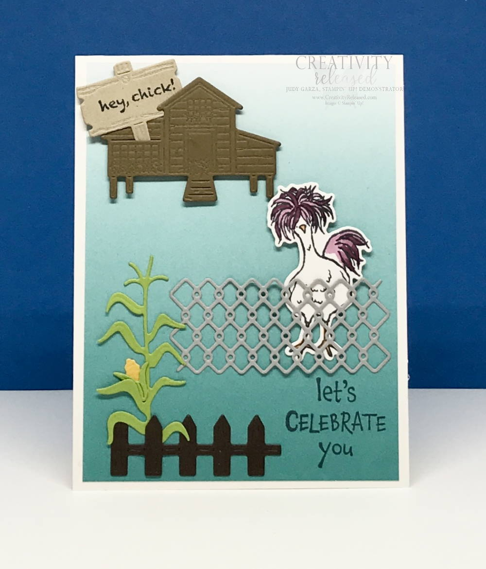 A birthday card using most of the die-cuts from the Chicks dies by Stampin' Up!