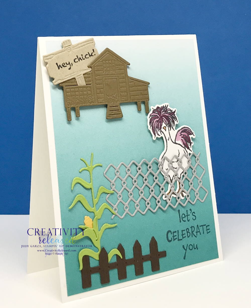 Side View of a birthday card using most of the die-cuts from the Chicks dies by Stampin' Up!