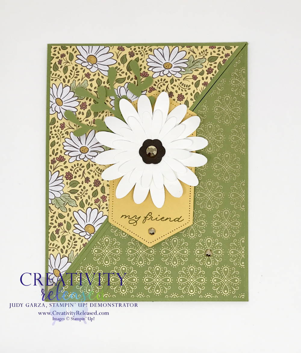 A funfold card for any occasion made with Stampin' Up!'s Ornate Garden designer series paper.