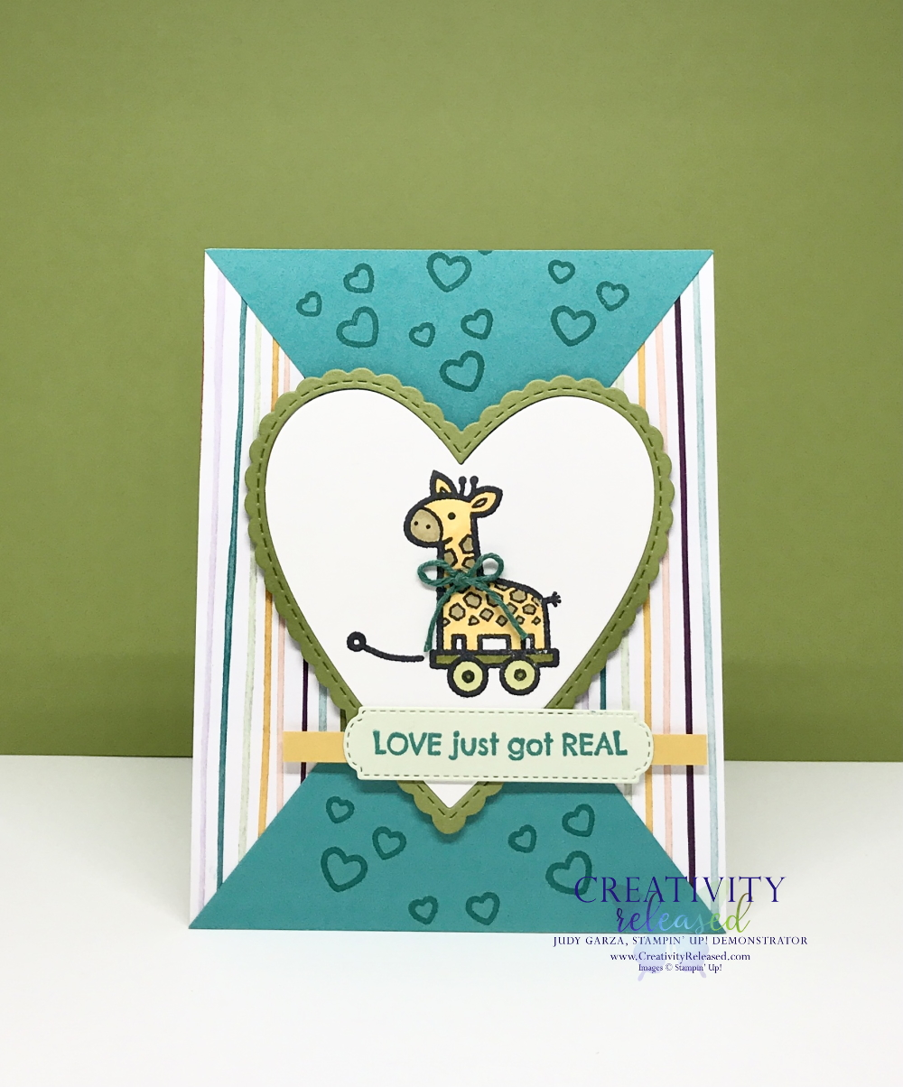 A new baby card with a Pull Toy image by Stampin' Up! on the front.