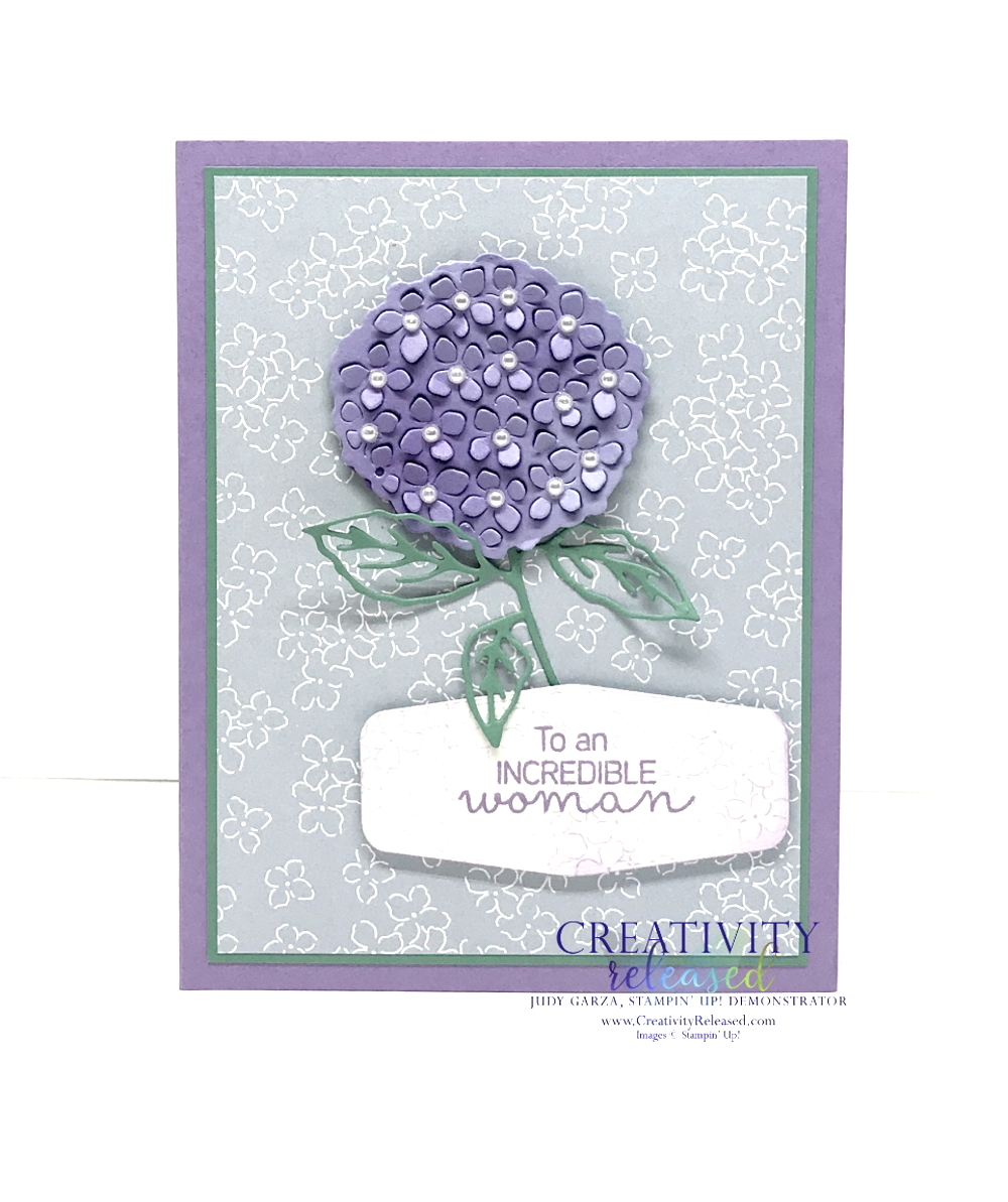 A card using the Stampin' Up! colors Highland Heather, Just Jade and Seaside Spray. showing a hydrangea focal point on seaside spray DSP.