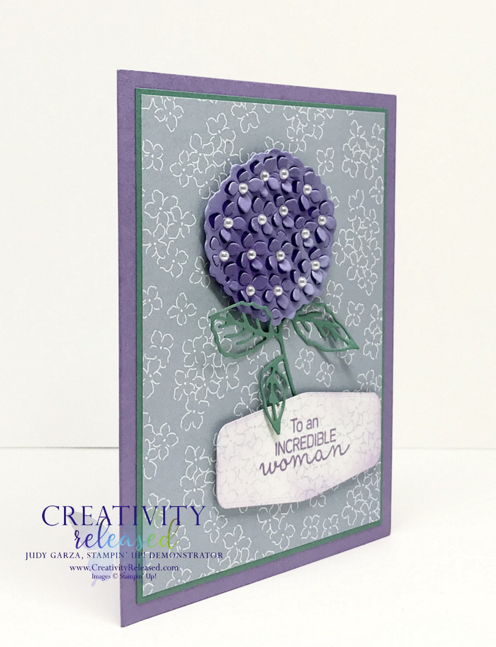 Side view of A card using the Stampin' Up! colors Highland Heather, Just Jade and Seaside Spray. showing a hydrangea focal point on seaside spray DSP.