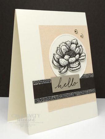 """Side view of a monochromatic """"hello"""" card using Tasteful Touches stamp by Stampin' Up!"""