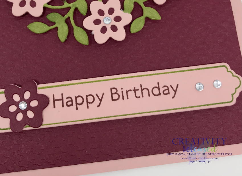 Up close look at a Birthday card using the Vine Design bundle by Stampin' Up!