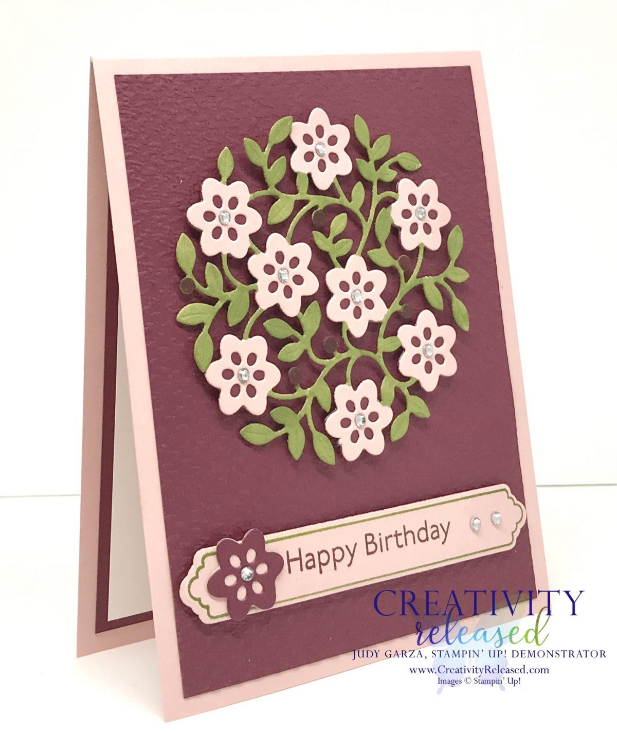 Side view of a Birthday card using the Vine Design bundle by Stampin' Up!