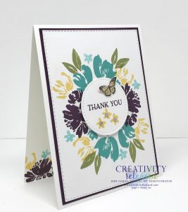 A side view of a floral thank-you card made using the colors Daffodil Delight, Blackberry Bliss and Bermuda Bay, all by Stampin' Up!
