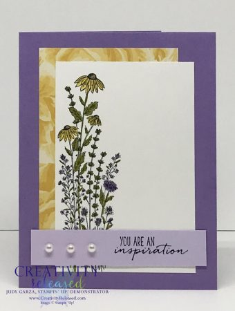 An uplifting card made with the Dragonfly Garden stamp set by Stampin' Up! using purples and yellows.