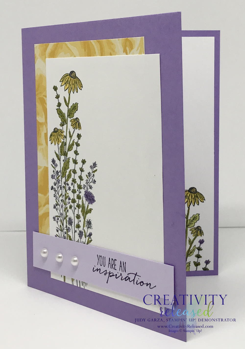 A side view of an uplifting card made with the Dragonfly Garden stamp set by Stampin' Up! using purples and yellows.
