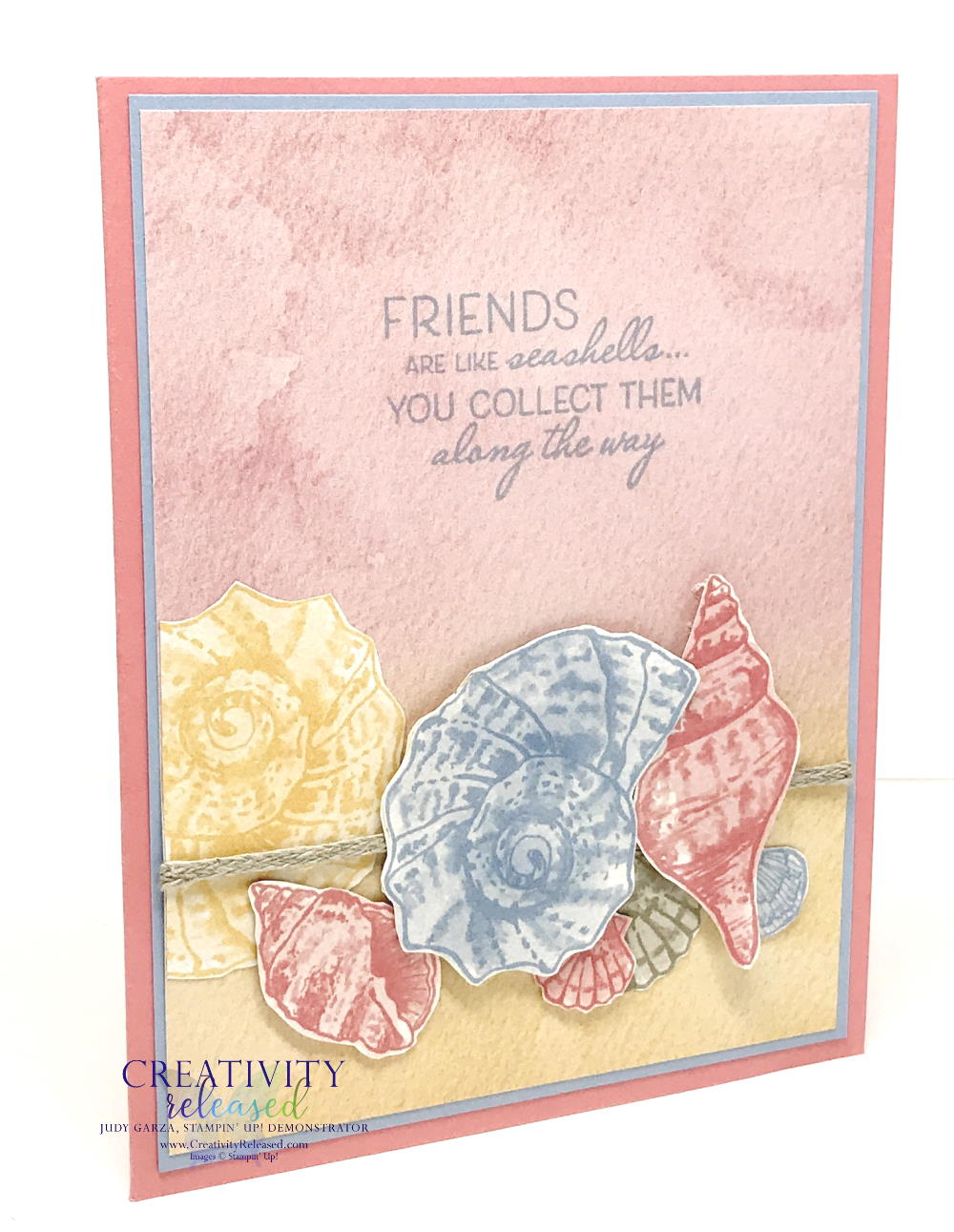"""A side view of afriendship card created with pastel colors and the """"Friends Are Like Seashells"""" stamp set by Stampin' Up!"""