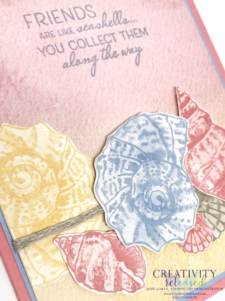 """An up-close look at a friendship card created with pastel colors and the """"Friends Are Like Seashells"""" stamp set by Stampin' Up!"""