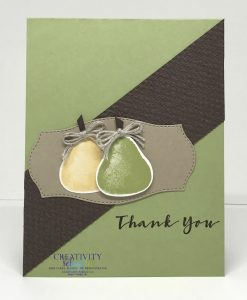A thank you card with a pear pizzazz colored base with a diagonal Early Espresso embossed background and two pairs made from the Stampin' Up! Sweet Strawberry stamp set.