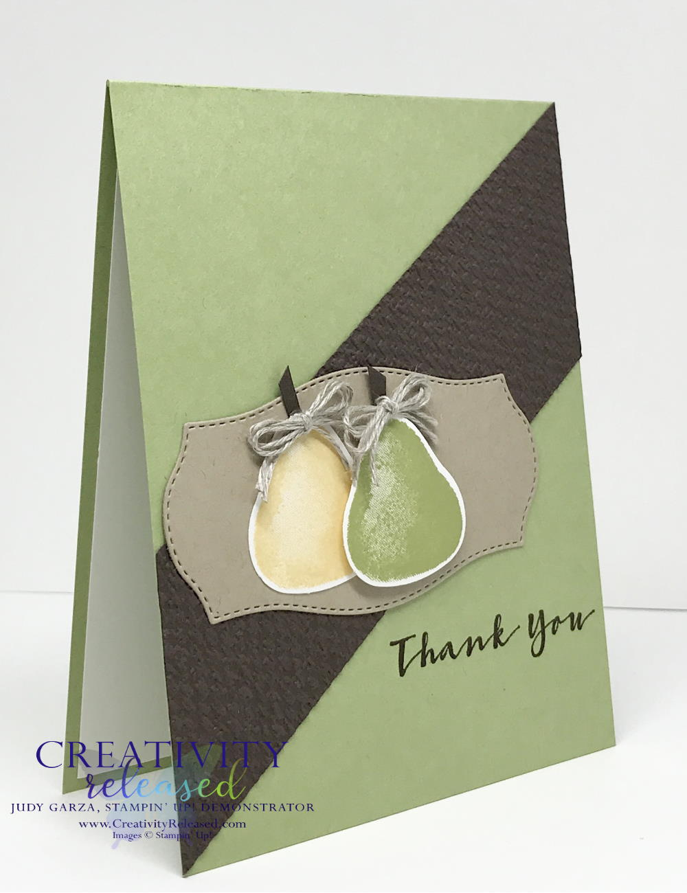 A side view of a thank you card with a pear pizzazz colored base with a diagonal Early Espresso embossed background and two pairs made from the Stampin' Up! Sweet Strawberry stamp set.
