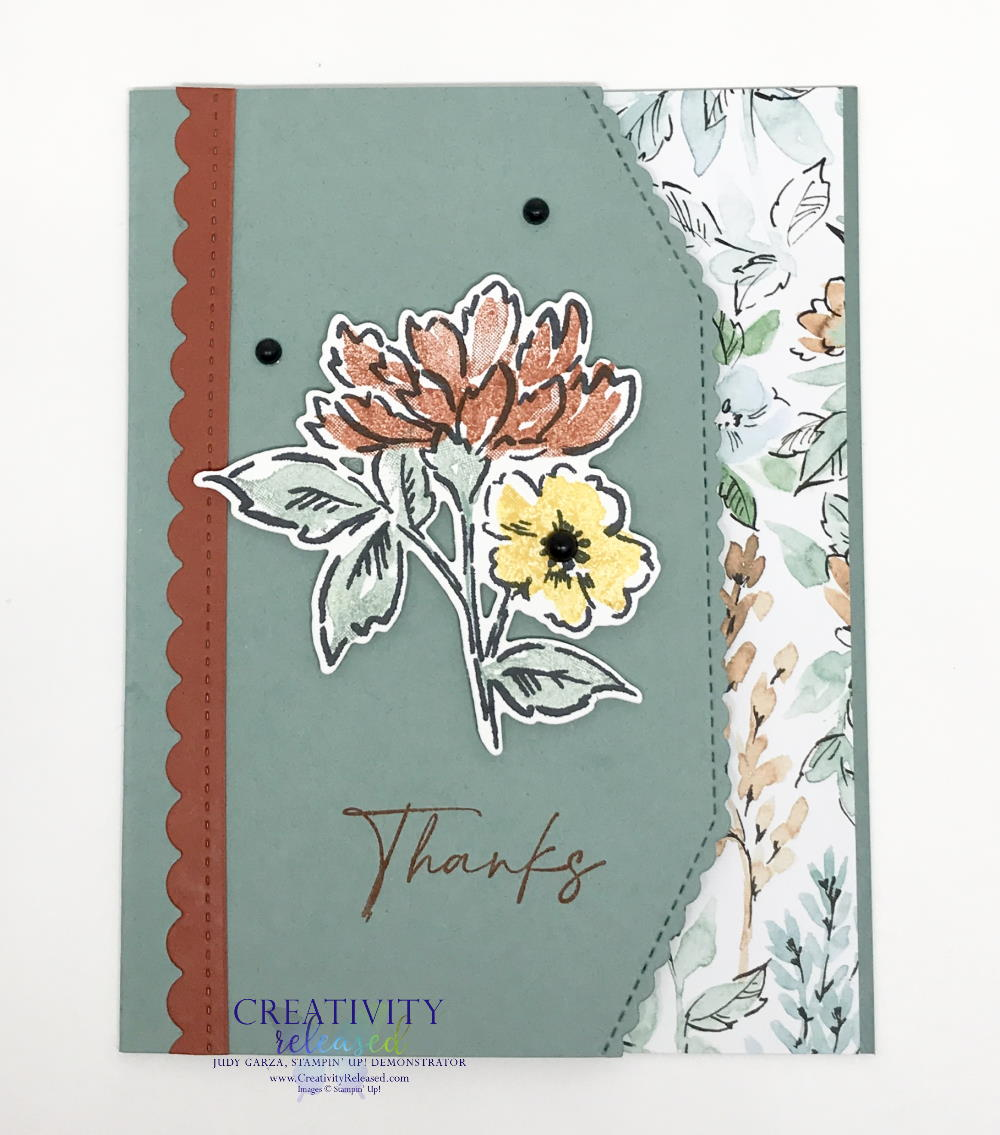 A thank you card using Soft Succulent cardstock and showcasing the stamp set and designer series paper by Stampin' Up!