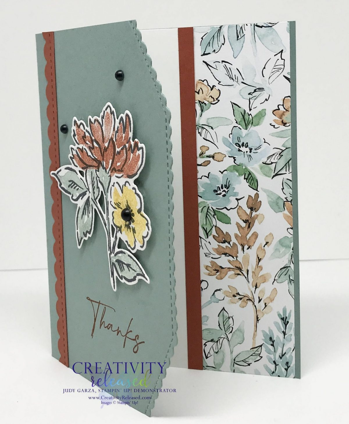 A side view showing the inside of a thank you card using Soft Succulent cardstock and showcasing the stamp set and designer series paper by Stampin' Up!