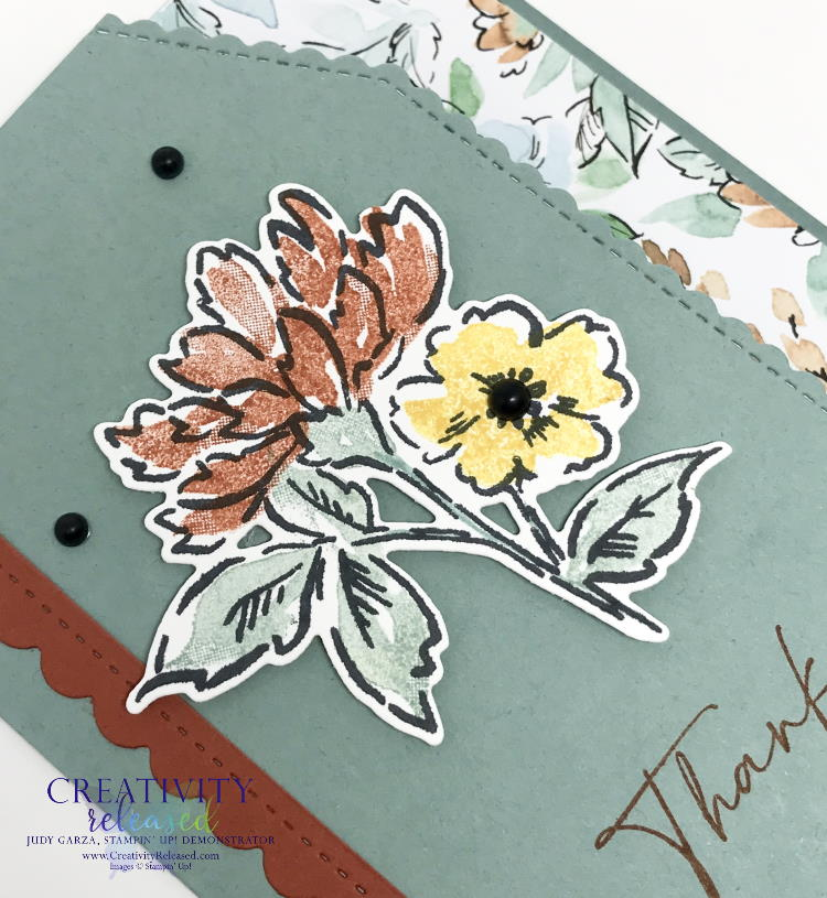 An up-close look at a thank you card using Soft Succulent cardstock and showcasing the stamp set and designer series paper by Stampin' Up!