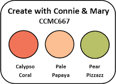 A color challenge picture showing Calypso Coral, Pale Papaya, and Pear Pizzazz, all Stampin' Up! colors
