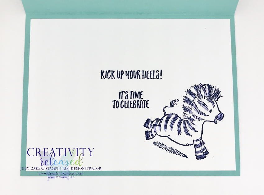Zany Zebra Card inside