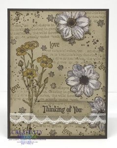 A 'thinking of you' stamped collage card using the Quiet Meadow stamp set by Stampin' Up!