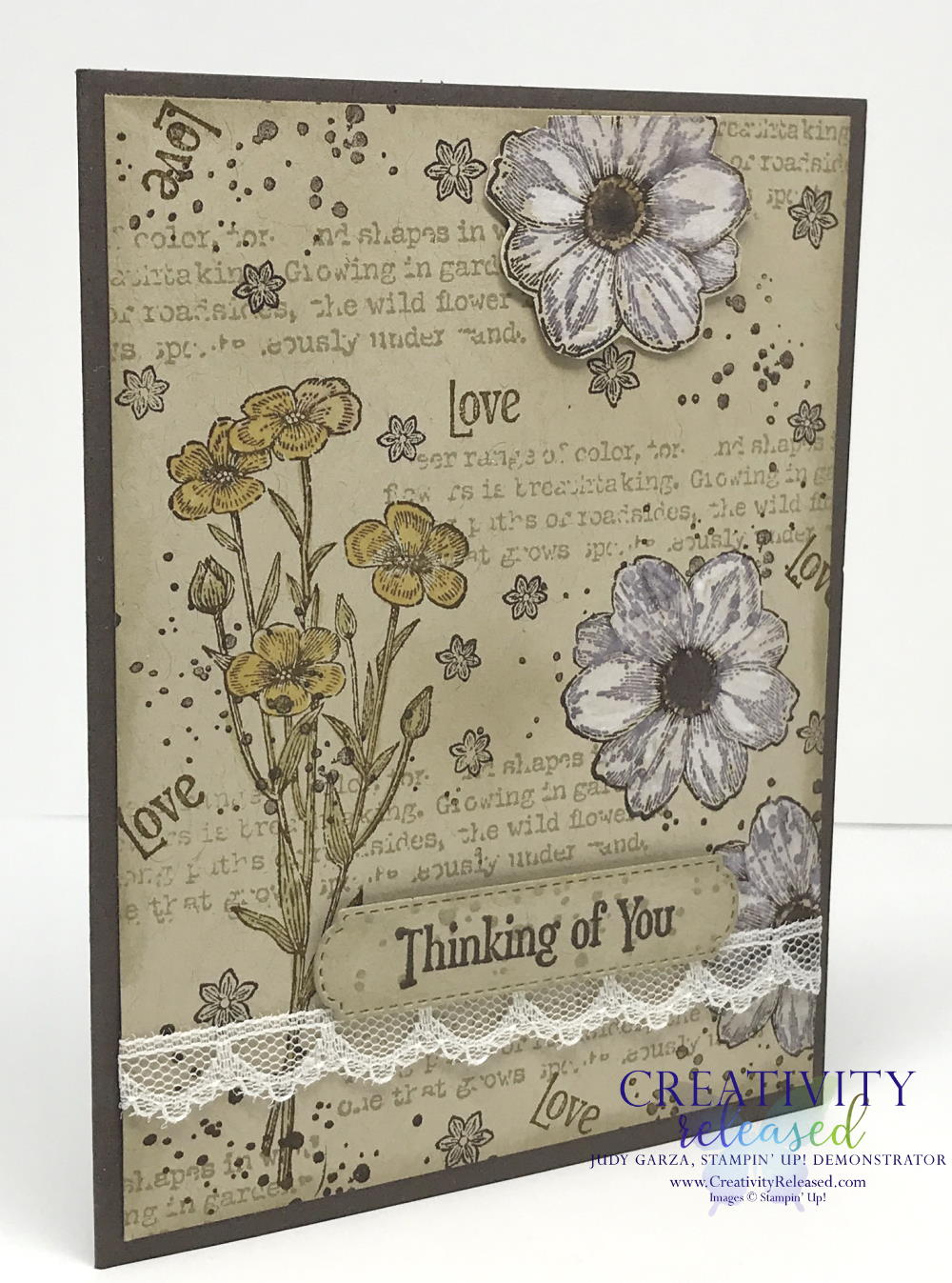 Side view of a 'thinking of you' stamped collage card using the Quiet Meadow stamp set by Stampin' Up!