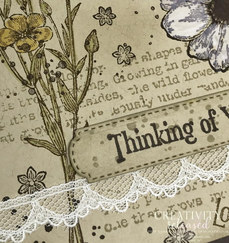Close up of a 'thinking of you' stamped collage card using the Quiet Meadow stamp set by Stampin' Up!