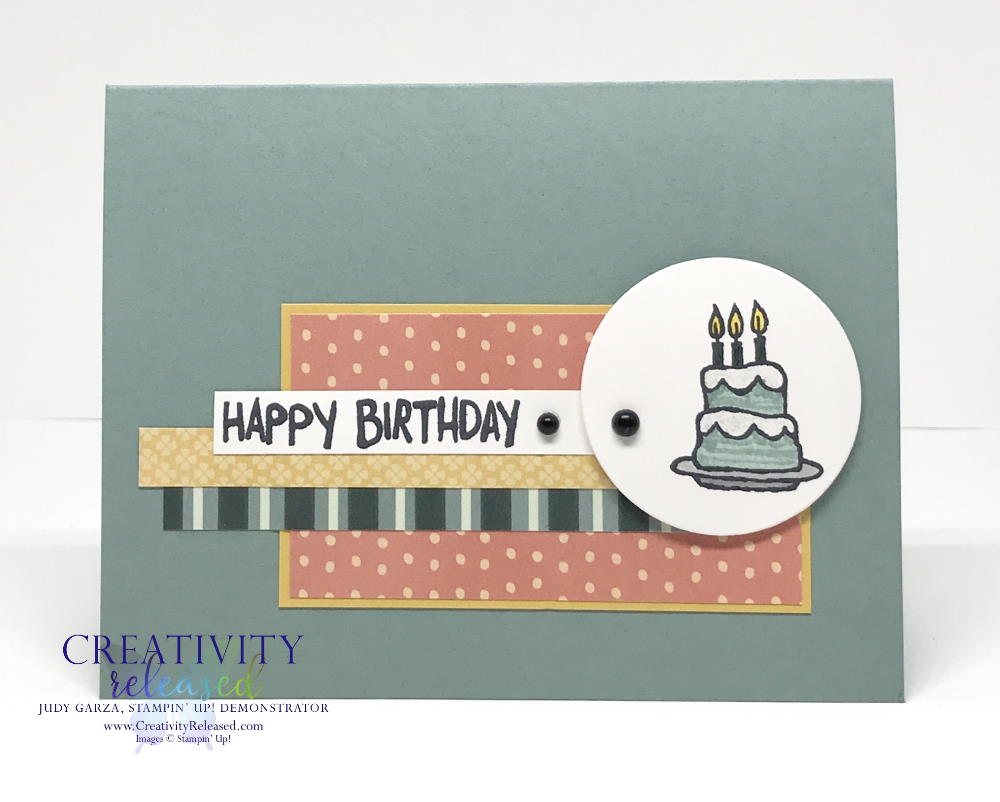 A birthday card using Party Puffins stamp set by Stampin' Up! to fulfill CCMC 663 sketch challenge.