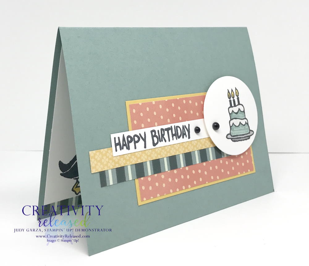 A side view of a birthday card using Party Puffins stamp set by Stampin' Up! to fulfill CCMC 663 sketch challenge.