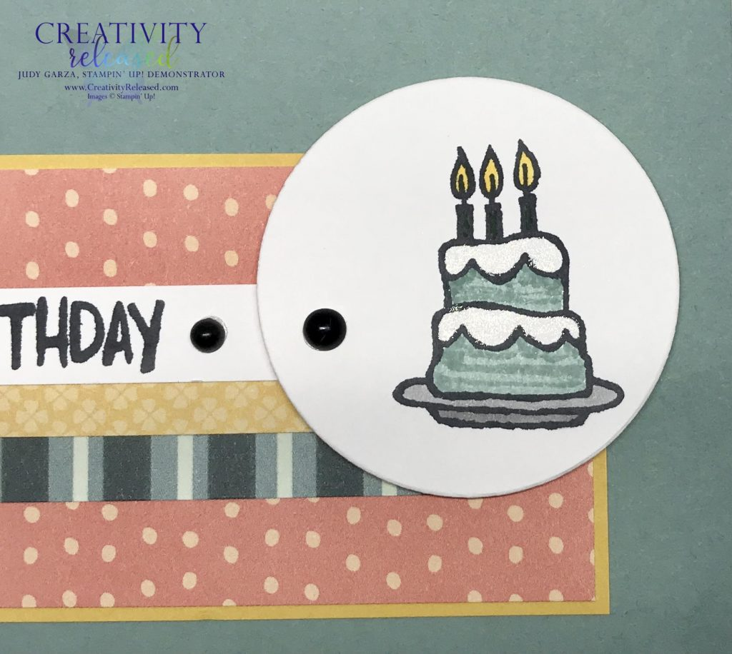 An up-close look at a birthday card using Party Puffins stamp set by Stampin' Up! to fulfill CCMC 663 sketch challenge.