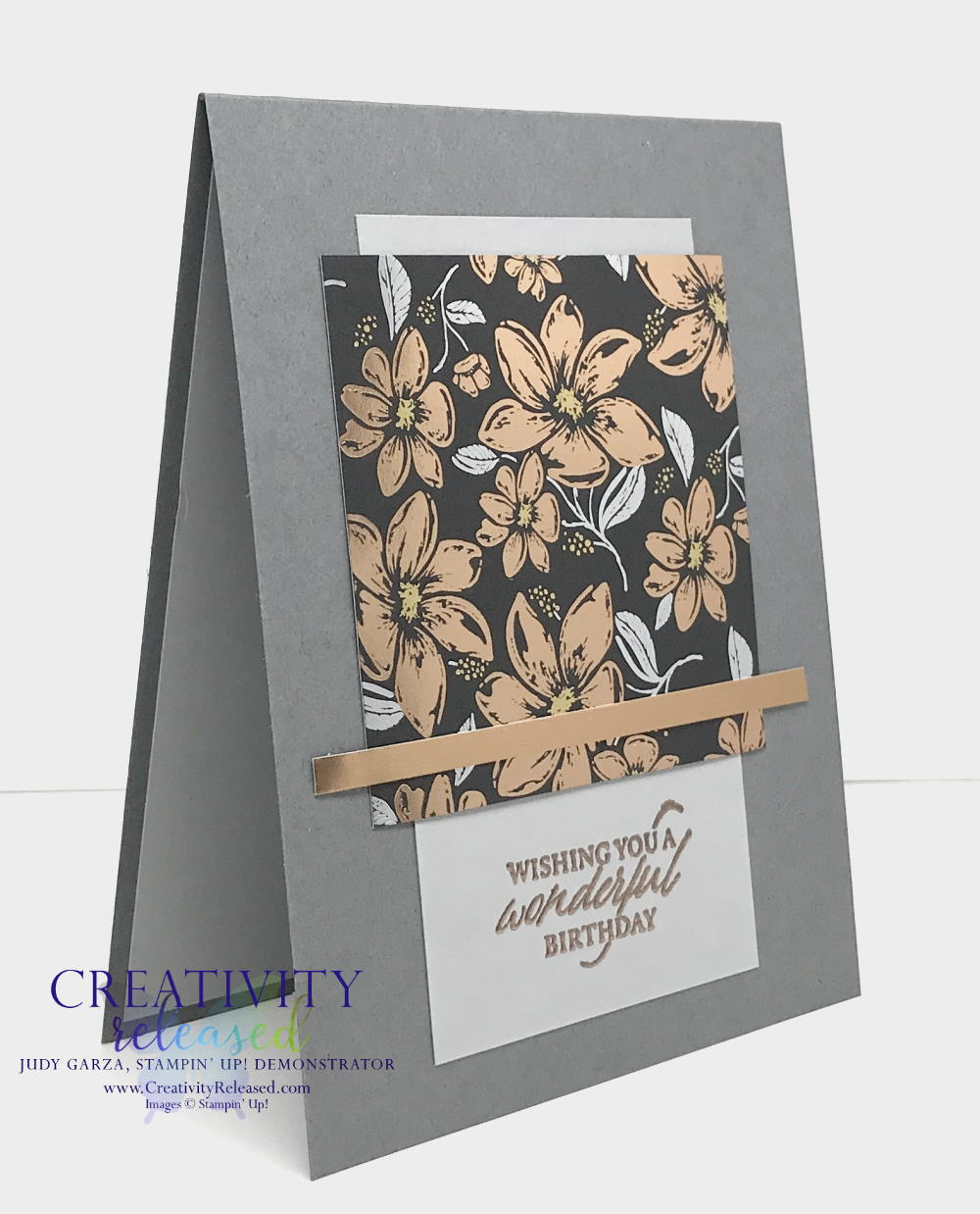 Side view of an elegant birthday card made from Stampin' Up!'s Elegantly Said stamp set and DSP to meet the CCMC665 color challenge.