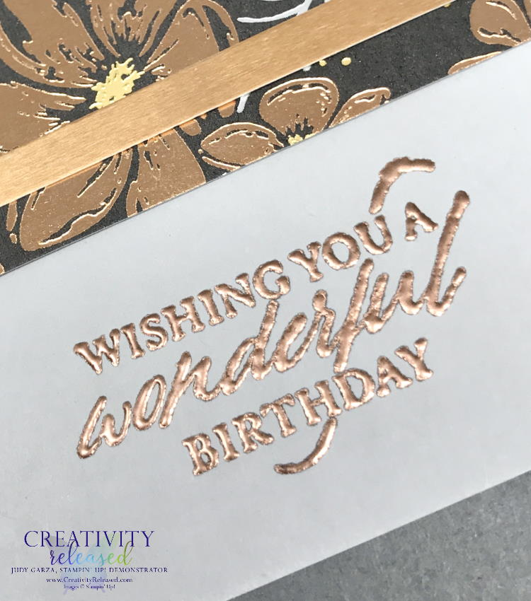 An up-close look at an elegant birthday card made from Stampin' Up!'s Elegantly Said stamp set and DSP to meet the CCMC665 color challenge.