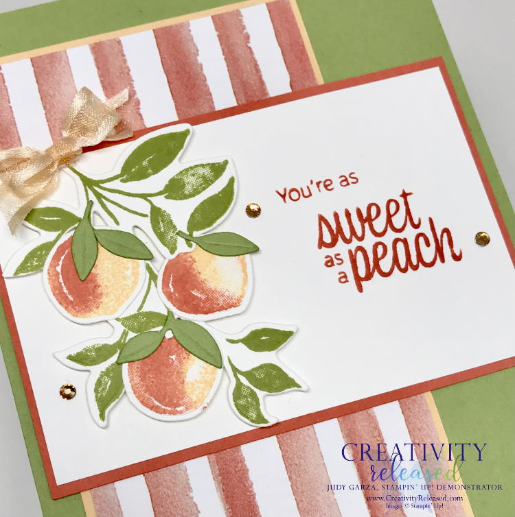 An up-close look at a Peachy Birthday card using the new Sweet as a Peach Bundle by Stampin' Up!