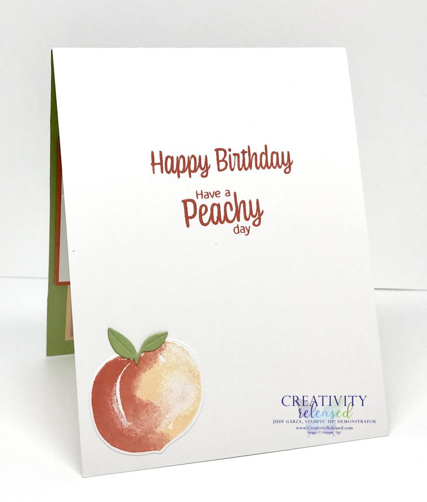 The inside view of a Peachy Birthday card using the new Sweet as a Peach Bundle by Stampin' Up!