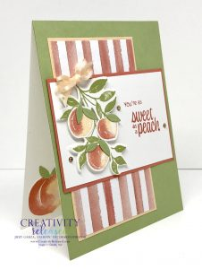 A side view of a Peachy Birthday card using the new Sweet as a Peach Bundle by Stampin' Up!