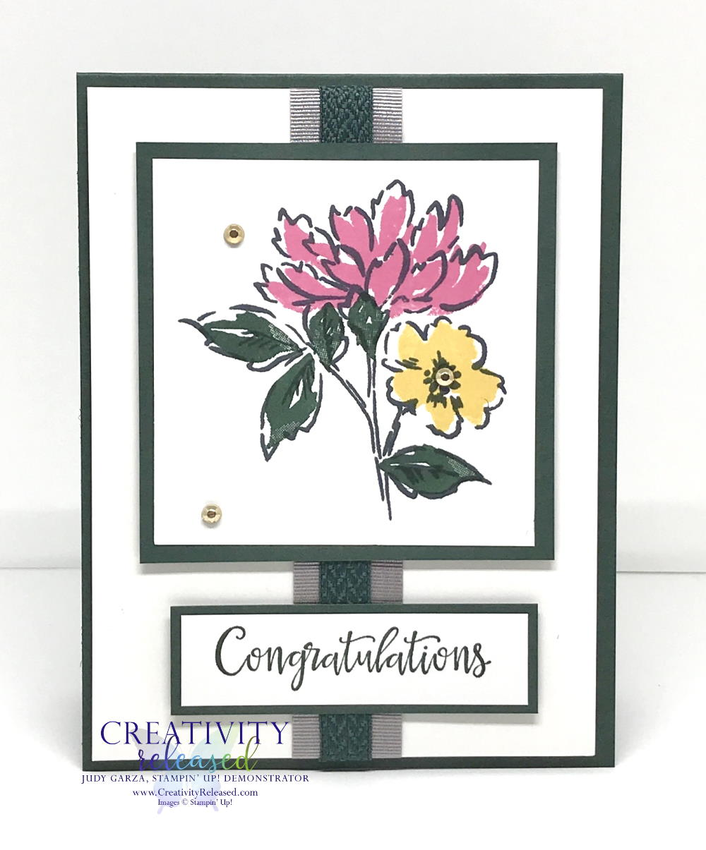 A card of congratulations using Hand-Penned Petals stamp set by Stampin' Up!