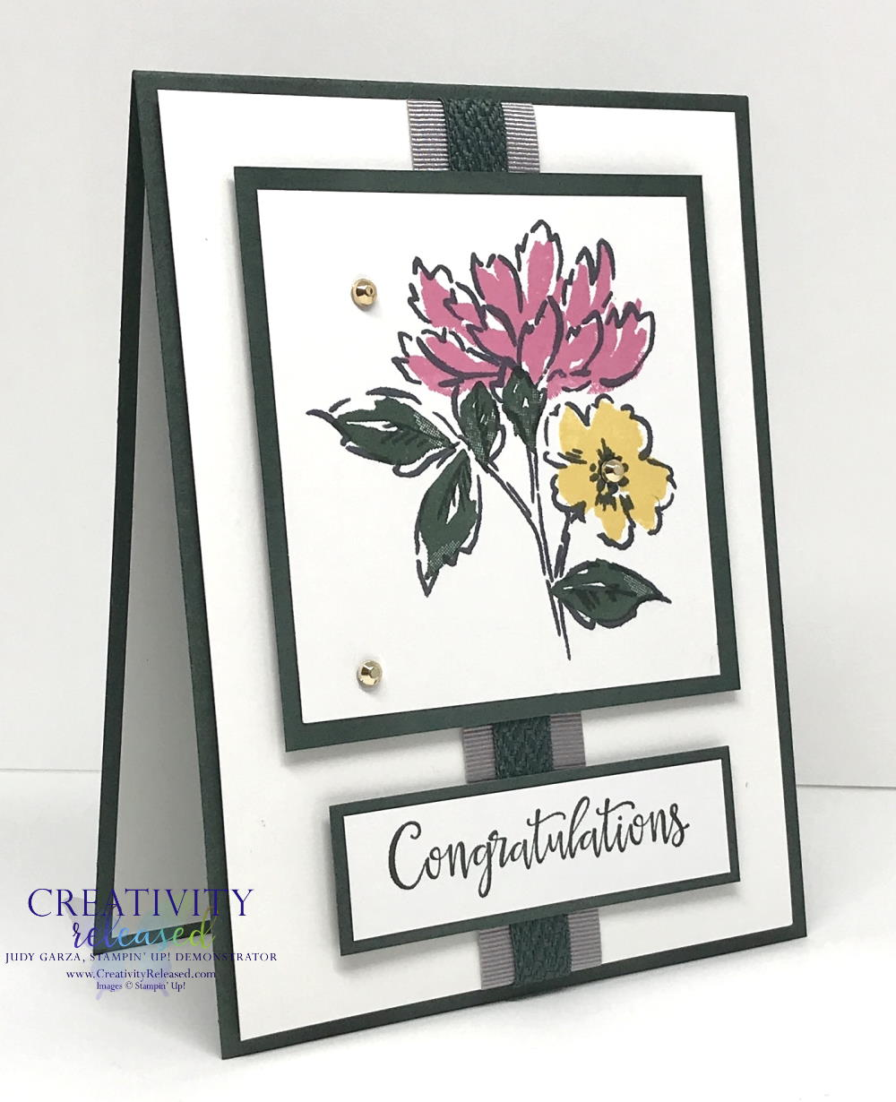 Side view of a card of congratulations using Hand-Penned Petals stamp set by Stampin' Up!